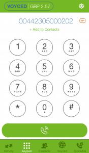 Voyced SoftPhone iOS dialing